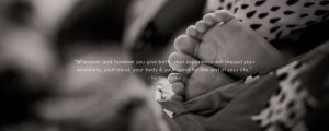 Doula Talia banner with Ina May Quote and image by Janko Ferlic